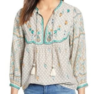 Lucky Brand Evelyn Embroidered Peasant Top M NWT